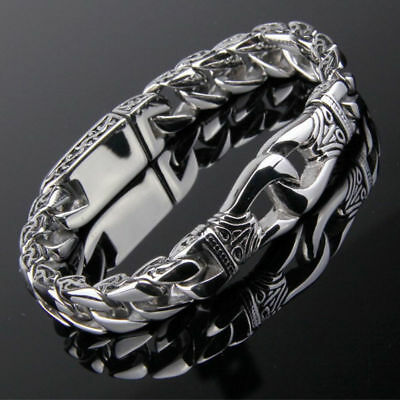 Huge Men's Link Steel Polished Silver Bracelet Chain Bangle Stainless Heavy Curb