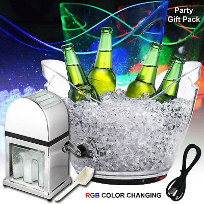 LED Color Changing 8Ltr Ice Bucket Wine Party Bar Cooler With Manual Ice Crusher