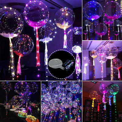 """1-10X 18"""" 3M Copper Wire Led Luminous Balloons For Wedding Valentine Party Decor"""