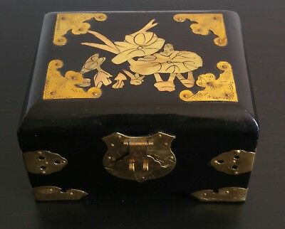 Vintage Chinese Black Lacquer Jewellery Box With Mother Of Pearl Inlay