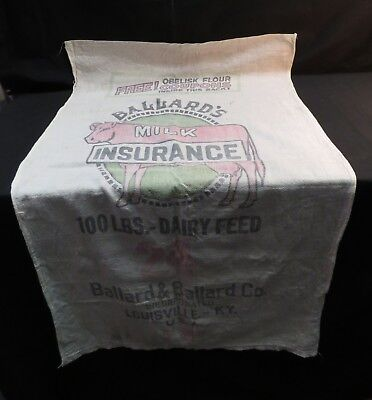 "Vintage Ballards Insurance Old Cloth Feed Sack Advertising ""Front Only"""