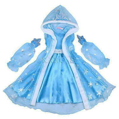 New Kid Girl Princess Queen Elsa Cosplay Fur Dress With Cape Costume Party Fancy