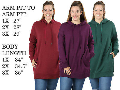Womens Plus Size Loose Fit Comfy Hoodie Tunic Pull Over Sweater Sweatshirt Top
