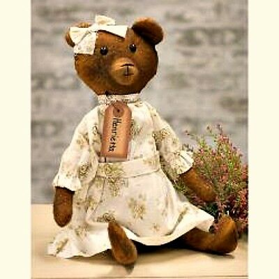 New Primitive Grungy Antique Style Henrietta Girl Teddy Bear Dress Doll 16""