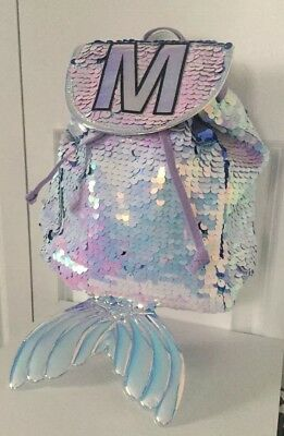 "Justice Mermaid MINI Backpack / Rucksack Flip Sequin Initial "" M "" Brand New"