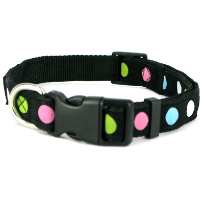 Black Multi Dot Dotty Spot Nylon Small Dog Collar and Lead Set