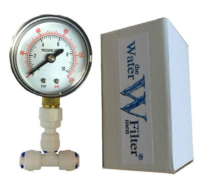 Inline Pressure Gauge for Water Filter Aquarium Reverse Osmosis System Push Fit