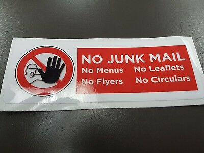 """No Junk Mail Vinyl Sticker (5.5"""" x 2.0"""") ***SAVE THE PLANET*** (FREE SHIPPING)"""