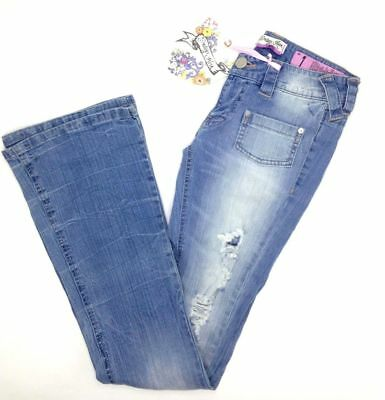 Nwt $335 Indigo Rein Women's Light Blue Ripped-Leg Flare Jeans Junior Size 1