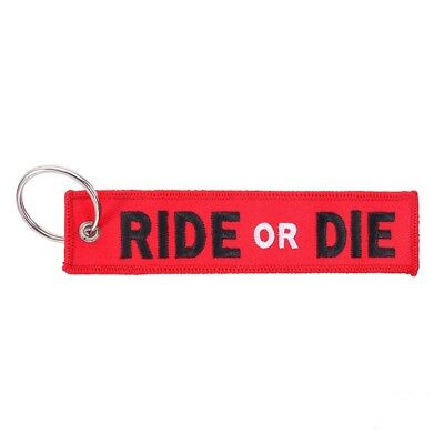 1pc Ride or Die Embroidered Keychain Motorcycle Motorbike Car Keyring Holder Tag