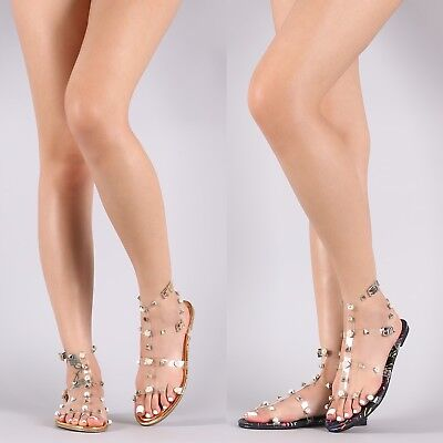 df14914ce2c63 New Woman Liliana Gilded Pyramid Stud Jelly Clear Lucite Flat Gladiator  Sandal