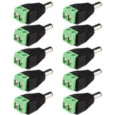 10pcs DC Power Male 5.5 x 2.1mm Jack Adapter Cable Plug Connector for CCTV / LED