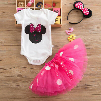 Girls 1st Birthday Minnie Mouse Bow Dots Outfit Party Dress Tutu Skirt Headband