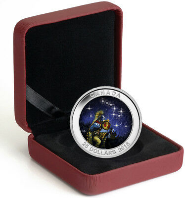 Genuine Silver 2015 Canada $25 Star Charts: The Quest Glow in the Dark Coin