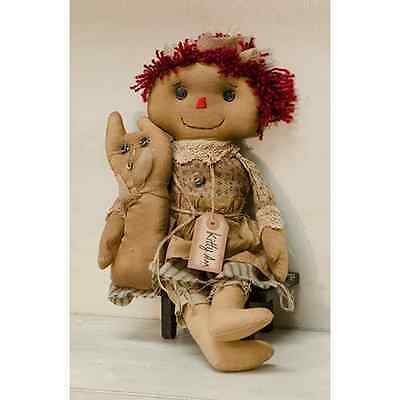 """New Primitive Country Folk Art Tea Stained Raggedy Ann Kitty Cat Doll 16"""""""