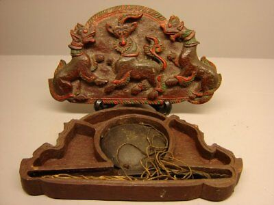 Antique Chinese opium scale wood carved red lacquer case slice open and close