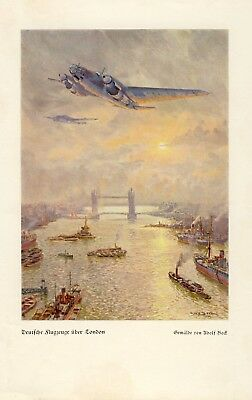 German Air Force over London German 1940 art print by Adolf Bock † Helsingborg