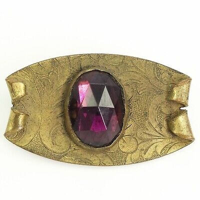 ANTIQUE Fancy Flourish Engraved Faceted PURPLE Glass Oval BROOCH Sash Pin c1900