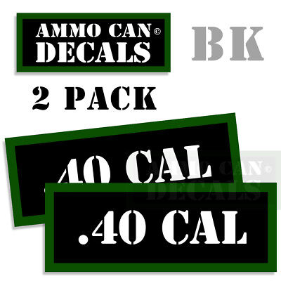 """Ammo Can Labels 40 CAL Ammunition Case Caliber stickers decals 2 pack 3""""x1.15"""""""