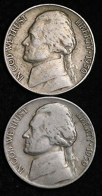 1950 P AND D Jefferson Nickel Set (2 Coin Lot) Nice GOOD / VG FREE SHIPPING