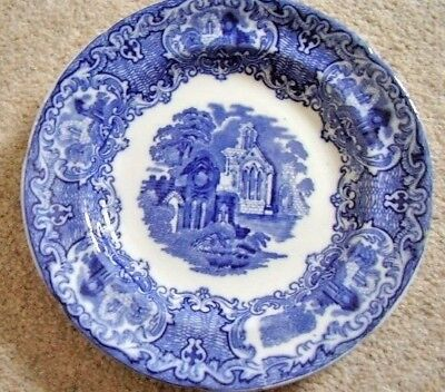 Antique George Jones &  sons England porcelain blue and white plate,Abbey,c.1910