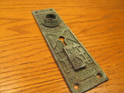 Very Old Eastlake ? Bronze ?? Brass Door Knob Plate...tarnished Art
