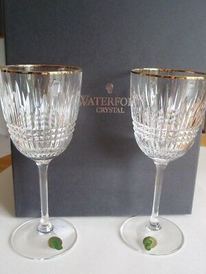 WATERFORD LISMORE DIAMOND Gold GOBLETS Wine GLASSES, NEW in BOX, Set of 2