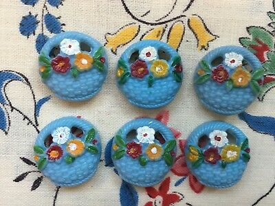 Six pretty vintage 50's novelty cute plastic buttons - baskets of flowers - blue