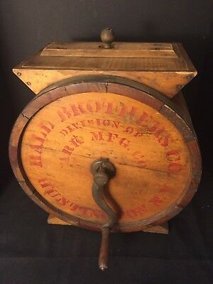 Antique Hall Brothers Co. Ark Mfg. Co. Huntington, N.Y. Wooden Butter Churn No.