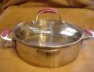 David Burke Stainless 4 Qt Pan W/ Tempered Glass Lid /Red Silicone Grips