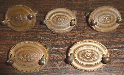 """Lot of 5 Matching Antique Stamped Brass Oval Drawer Pulls 2-1/8"""" 1-5/8"""" Centers"""
