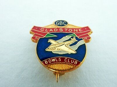 Vintage Retro Enamel GBC Gladstone Bowls Club Plane Badge Pin