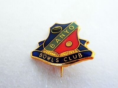 Vintage Retro Banyo Bowls Club Enamel Badge Pin Brisbane Queensland Australia
