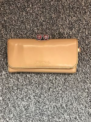 Ladies 'Tedbaker' Tan/ Pink Pu Long Purse. Heart Clasps. Good Condition.