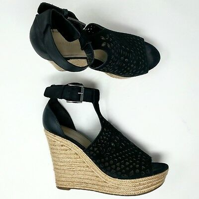 81192ef79e4 MARC FISHER PERFORATED Light Blue Suede Wedges Shoes New Hasina Size ...