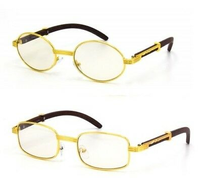 56d0d9d3fddb 2Pc Vintage Wood Buffs Fashion Eyeglasses Oval Gold Frame Clear Lens Glasses  m