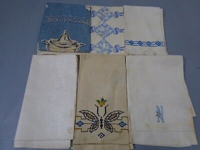 Antique 6 Linen hand embroidered Towels