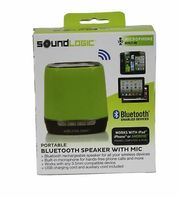 BLUETOOTH SPEAKER SOUND Logic Portable Green Mic Built-In IPhone Android New