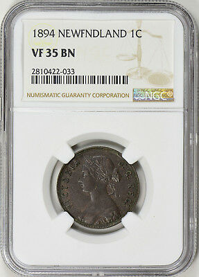 1894 Newfoundland Large Cent - Ngc Vf35 - Km1 (17-0356)