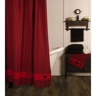 New Rustic Hunting Camp Lodge Cabin Red BLACK BEAR MOOSE Fabric Shower Curtain