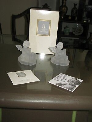 1995 Avon 24% Lead Crystal M.I Hummel Crystal Candlesticks - Set of 2 - With Box