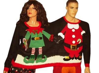 2 Person Christmas Sweater.Holiday Time Double Sweater S M Christmas Ugly Two Person