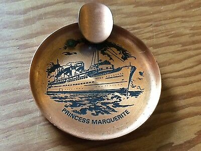 small ashtray SS Princess Marguerite, fantasy copperware made in Canada, copper