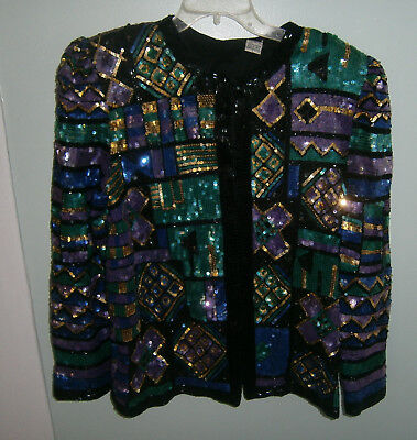Vintage Multi Color Sequins & Beaded Evening Jacket Size LARGE Beaded 100% Silk