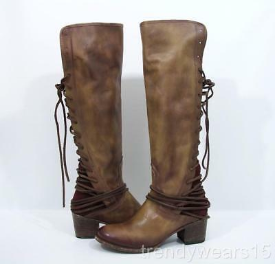 Fast Ship! Euc Sz 10 Freebird By Steven Coal Plum Leather Back Lace Tall Boots