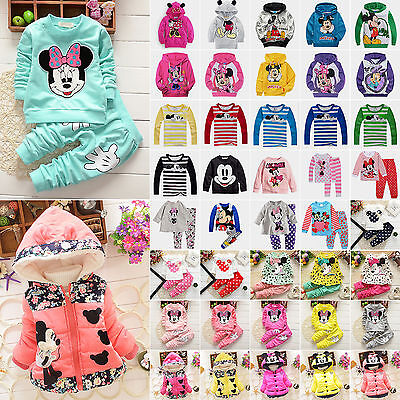 Kids Girls Boys Cartoon Mickey Minnie Outfits Set Hoodie Coat Jacket Jumper Tops