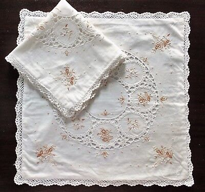 Vintage Set 2 White Embroidered Cushion Covers Crochet Motifs & Crochet Edge