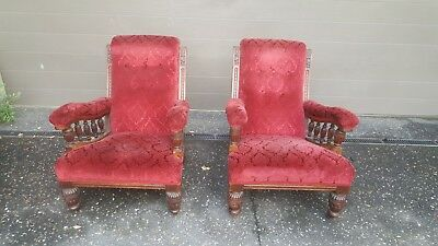 Antique Edwardian Grandfather's Chairs ( A Pair)