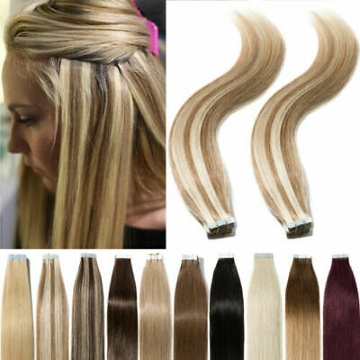 100% 20/40pcs Tape in Real Remy Human Hair Extensions BE Virgin Skin Weft Party