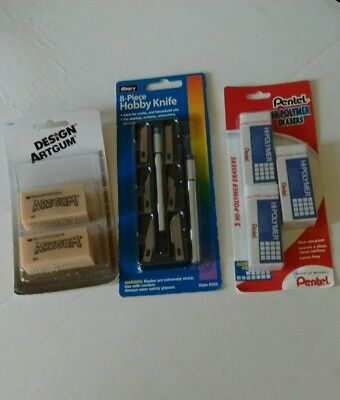 New Sanford Art Gum Allary Hobby knife Pentel Hi Polymer Erasers Graphic Artist